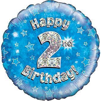 Oaktree 18inch 2e joyeux anniversaire bleu ballon holographique
