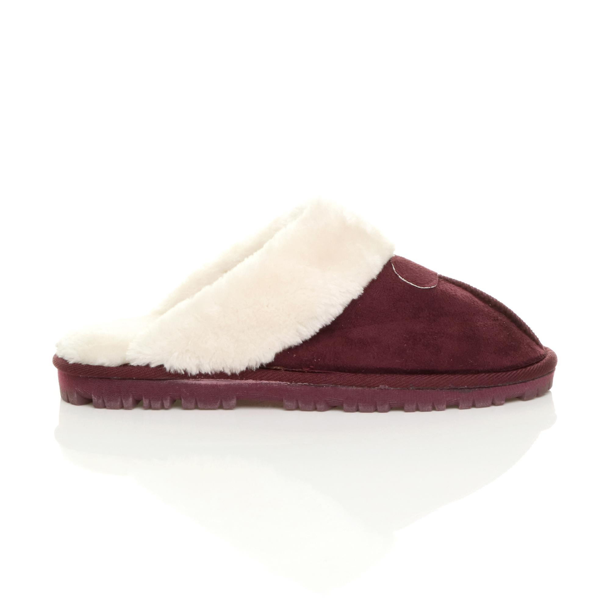 Ajvani womens flat winter faux sheepskin fur lined slip on luxury mules slippers shoes