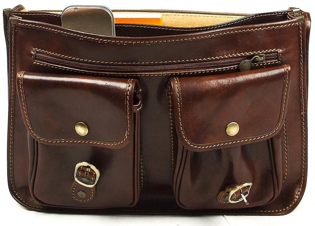 Genuine Italian Leather Flapover Briefcase Satchel Business Bag Brown Unisex