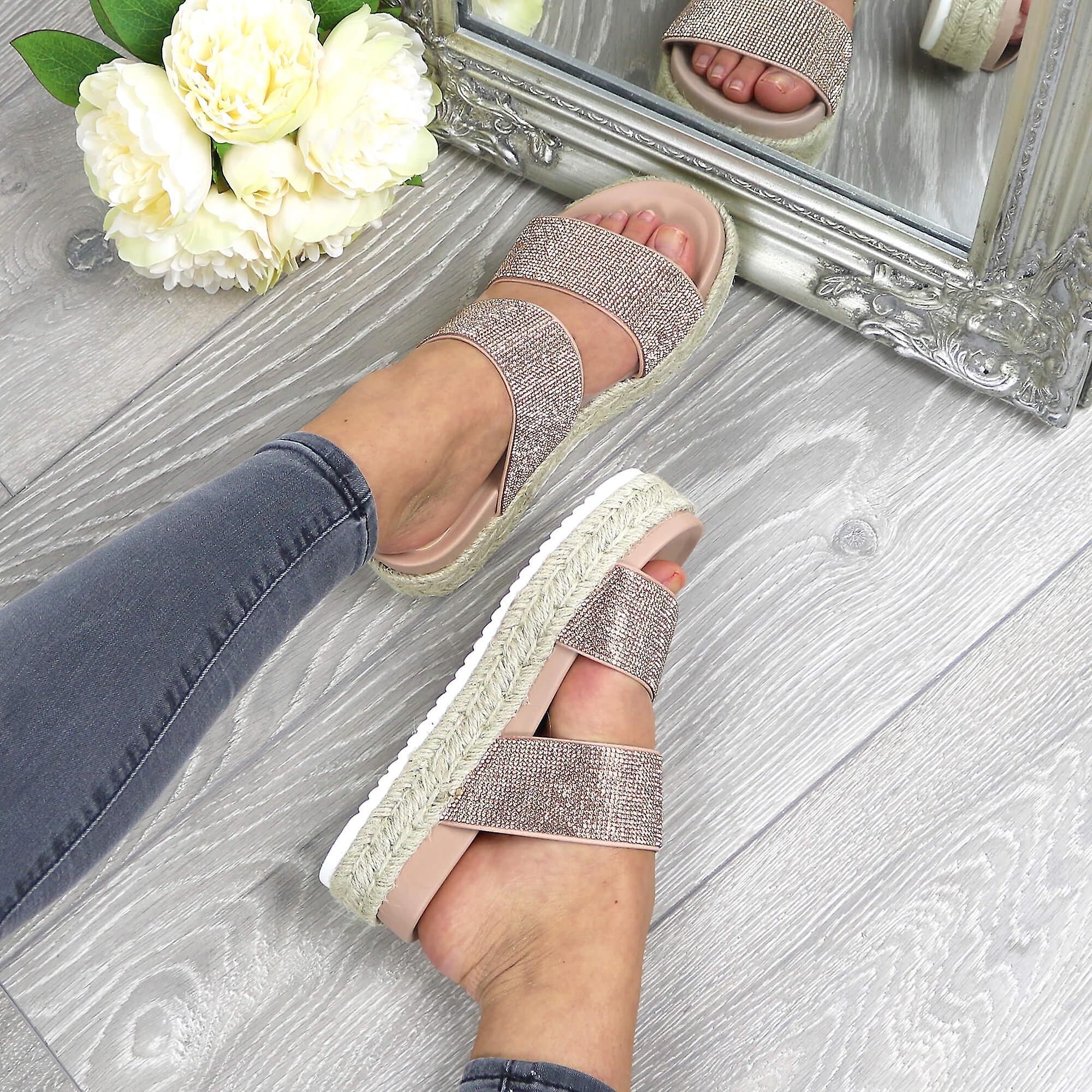 Ajvani Kvinners Midt Kile Diamante Plattform Flatform Espadrilles Sandaler