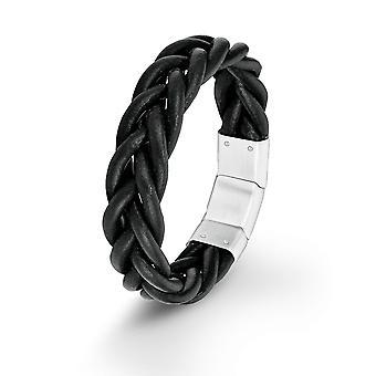 s.Oliver jewel gents bracelet black leather SO1388/1 - 9025466