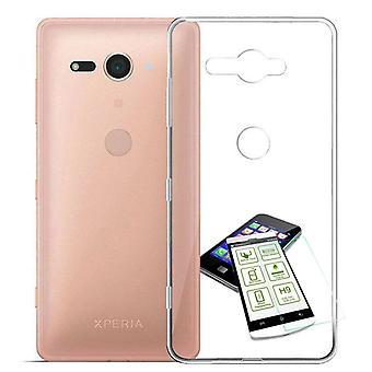 Silikoncase ultra tunna kuvertväska transparent + härdat glas 0,3 mm H9 för Sony Xperia XZ2 kompakt / Mini