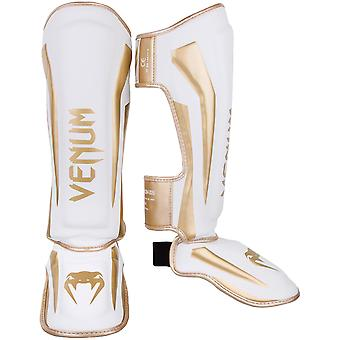 Venum Elite Lightweight Hook and Loop Shin Guards - White/Gold