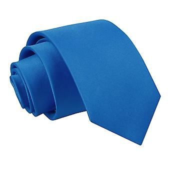 Electric Blue platte satijnen slanke Tie