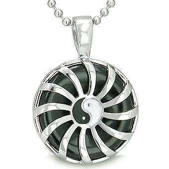 Énergie positive Sun Yin Yang médaillon cercle magique d'amulette motorise porte-bonheur pendentif en Onyx