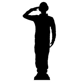 Saluting Wartime Soldier Silhouette Lifesize Cardboard Cutout / Standee