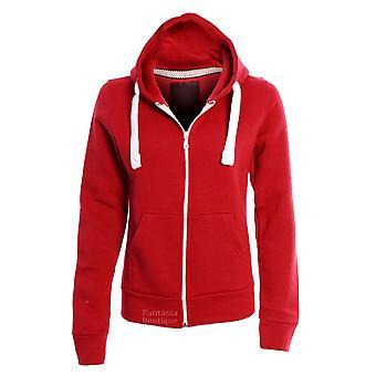 New Ladies Hoodie Plain Solid One Colour Hooded Zip Top Pocket Sweatshirt Women
