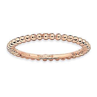 925 sterling silver polerad mönstrad stapelbara uttryck rosa-pläterad Ring-Ring storlek: 5 till 10