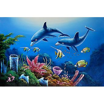 Delphin, handbemalt Ölgemälde auf Leinwand, 90x60 cm