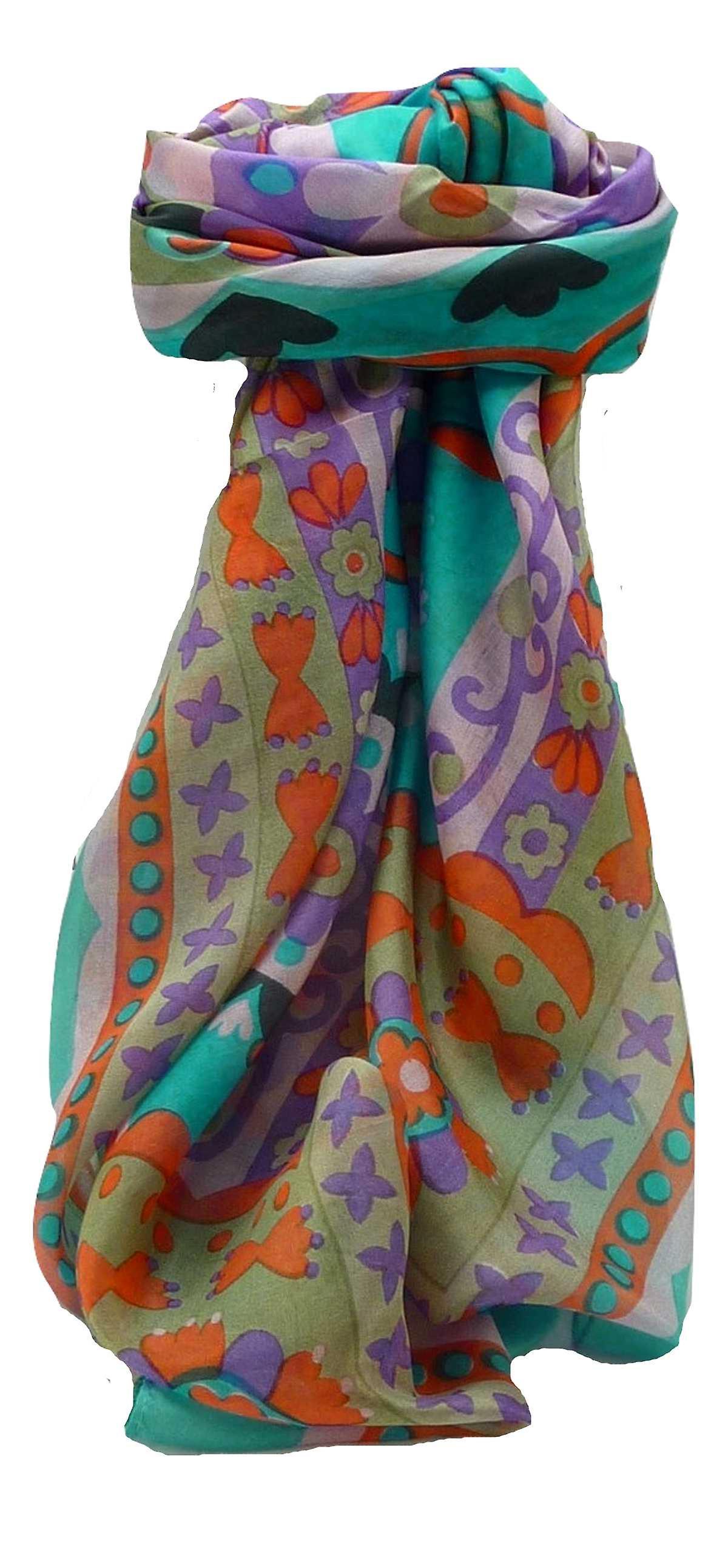 Mulberry Silk Contemporary Square Scarf Geometric G120 by Pashmina & Silk