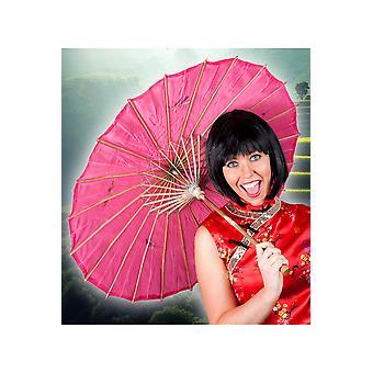 Sombrillas y paraguas chino de fans rosa