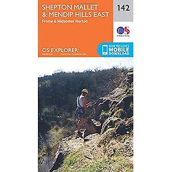 OS Explorer mapę (142) Shepton Mallet i wschodzie wzgórz Mendip
