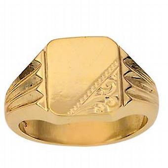 9ct goud 12x11mm gents gegraveerd rechthoekige Signet Ring grootte Z