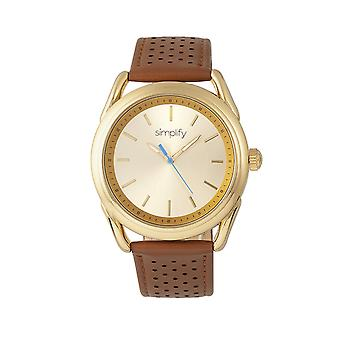 Simplify The 5900 Leather-Band Watch - Gold/Camel
