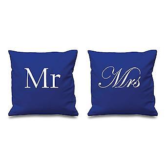 """כרית מר וגברת כחול מכסה 16 """"x 16"""" כריות זוגות"""
