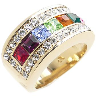 Ah! Jewellery Multi Colour Designer Ring With Simulated Diamonds