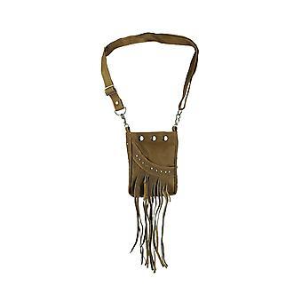 Genuine Leather Fringe and Studs Boho Crossbody Bag Small