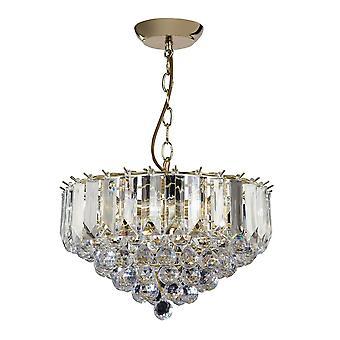 Endon Lighting Fargo 3 Light Clear Acrylic Crystal Drop Brass Pendant Light