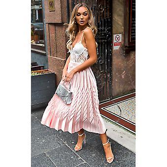 IKRUSH Womens Gabbana Metallic Pleated Midi Skirt