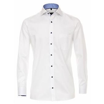 CASA MODA Casa Moda Plain Self Stripe Herringbone Formal Long Sleeve Shirt