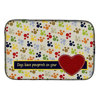 Dogs leave pawprints on your heart Dish Drying Mat