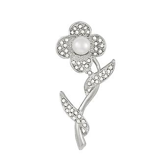 Eternal Collection Flora Pearl And Clear Diamante Flower Brooch