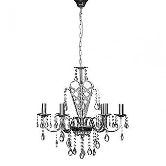 Premier Home Carrington csillár, króm, kristály, ezüst