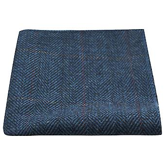 Luxury Herringbone Denim Blue Tweed Pocket Square, Handkerchief