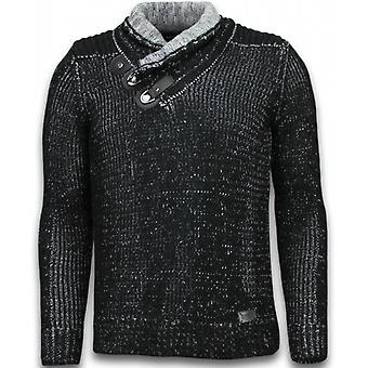 Knitted Sweater - Scarf Collar Buttons - Black