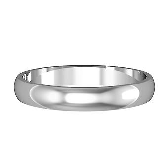 Jewelco London 18ct White Gold - 3mm Essential D-Shaped Band Commitment / Wedding Ring