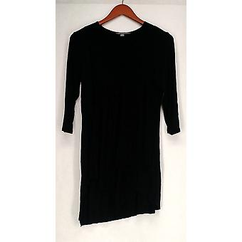 Kate & Mallory Top Knit 3/4 Sleeve V-Neck Layered Hem Tunic Black A415375