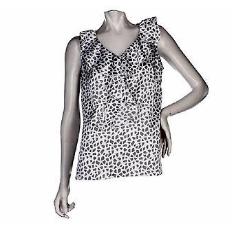Kathleen Kirkwood pluss camisole retro ruffle Giraffe ut svart A93652