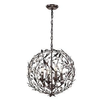 Circeo 4-light pendant in deep rust with crystal elk lighting