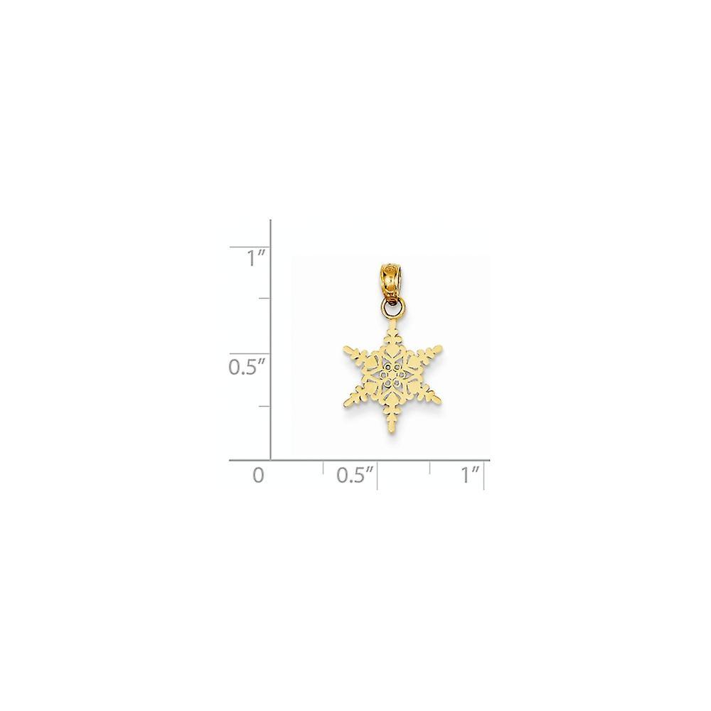 14 k Gelbgold poliert kleine Schneeflocke Anhänger Halskette Schmuck Geschenke für Frauen - .6 Gramm