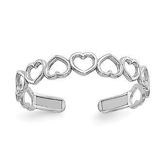 14k oro blanco cortado pulido cortado amor corazones de doto anillo joyería regalos para las mujeres - .3 gramos