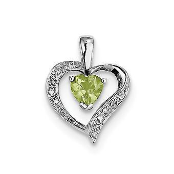925 sterling sølv poleret Prong sæt åben tilbage rhodium hjerte citrin og diamant hjerte vedhæng