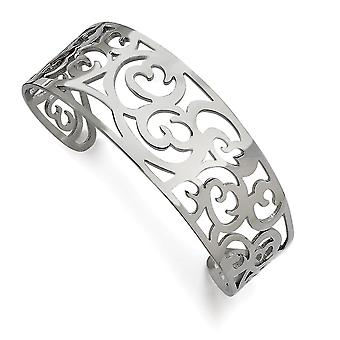 Stainless Steel Cut out Polished Fancy Cuff Bracelet Jewelry Gifts for Women