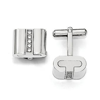 Stainless Steel Brushed and Polished With CZ Cubic Zirconia Simulated Diamond Square Cuff Links Jewelry Gifts for Men