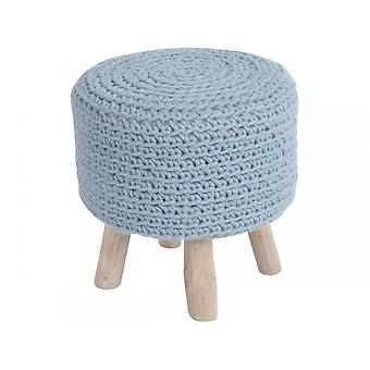 Libra Furniture Blue Knitted Small Stool With Lightwood Legs