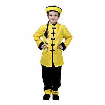 Authentique Yellow China Child Costume Kids Costume Carnaval traditionnel chinois Robe chinois Costume pour enfants