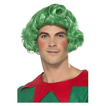 Miesten vihreä Elf peruukki joulu naamiaispuku lisävaruste