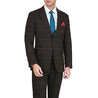 Dobell Mens bruin Tweed jas Fit Regular Windowpane Check Velvet Trims