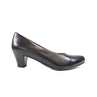 Caprice 22415 Black Leather Womens Slip On Court Shoes Heeled Shoes
