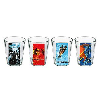 Shot Glass Set - Godzilla - Set of 4 New sg4-gdz-mons