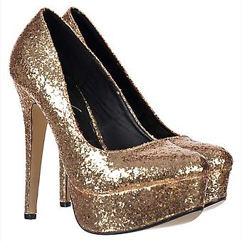 Onlineshoe Sparkly Glitter Platform Stiletto Heels - Party Shoes - Gold Glitter