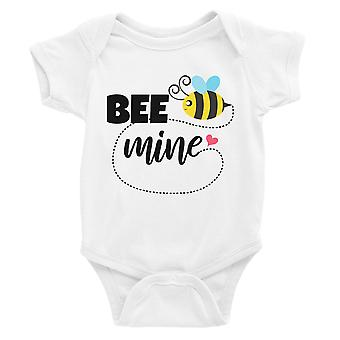 Bee Mine White Baby Bodysuit Cute Baby Shower Gift Infant Jumpsuit