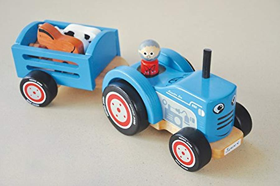Indigo Jamm Tractor Tim, Retro Wooden Toy Vehicle and Detachable Trailer with Farm Animals and Removable Driver