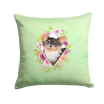 Longhaired Chihuahua Green Flowers Fabric Decorative Pillow