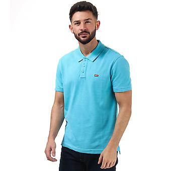 Mens Levis Housemark Polo Shirt In Blue- Short Sleeve- Ribbed Cuffs And Collar-