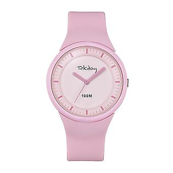 Tekday 654625 Watch - Silicone Pink Box Bracelet Silicone Rose Women
